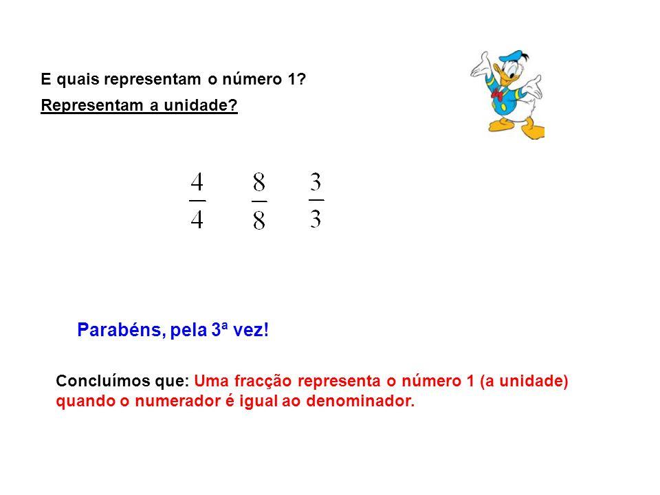 E quais representam o número 1? Parabéns, pela 3ª vez! Concluímos que: Uma fracção representa o número 1 (a unidade) quando o numerador é igual ao den