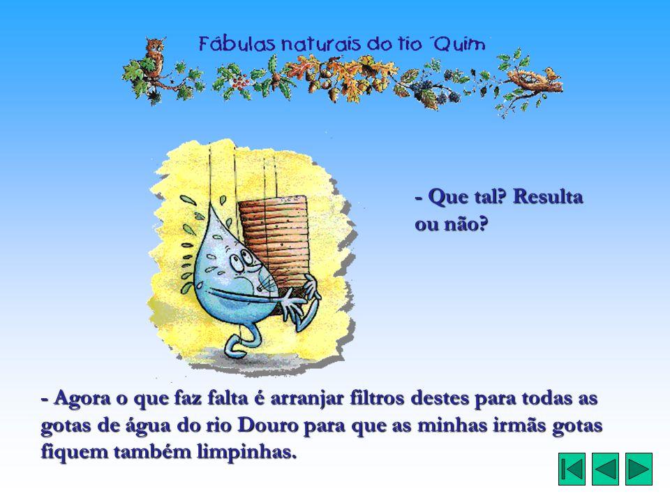 - Que tal? Resulta ou não? - Agora o que faz falta é arranjar filtros destes para todas as gotas de água do rio Douro para que as minhas irmãs gotas f