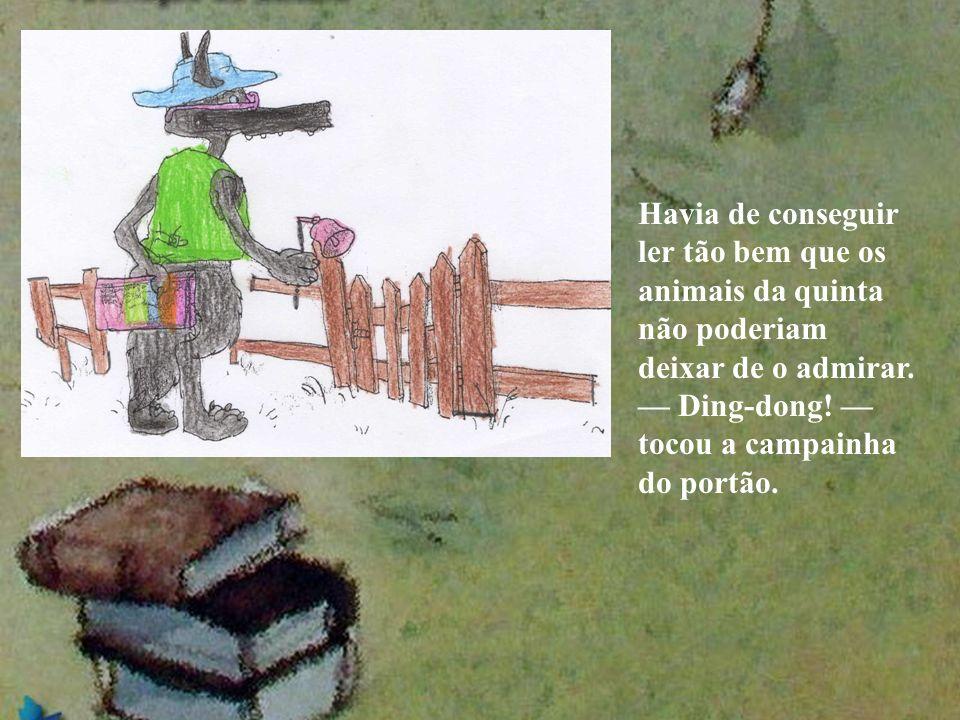 Havia de conseguir ler tão bem que os animais da quinta não poderiam deixar de o admirar. Ding-dong! tocou a campainha do portão.