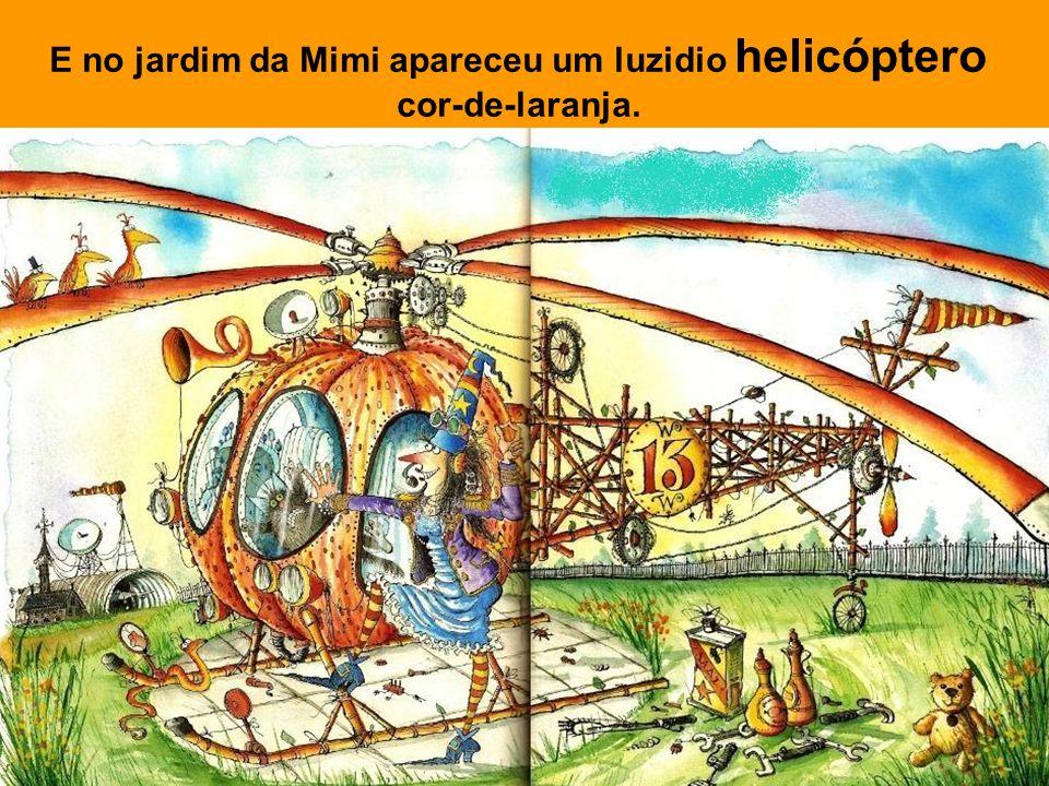 E no jardim da Mimi apareceu um luzidio helicóptero cor-de-laranja.
