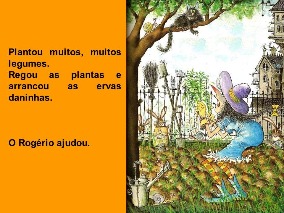 Plantou muitos, muitos legumes. Regou as plantas e arrancou as ervas daninhas. O Rogério ajudou.