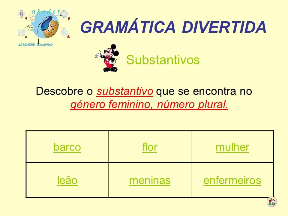 GRAMÁTICA DIVERTIDA Substantivos Descobre o substantivo que se encontra no género feminino, número plural. barcoflormulher leãomeninasenfermeiros