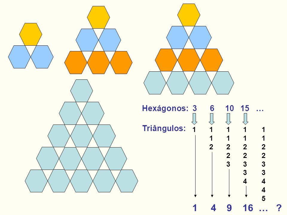 1 4 9 16 … ? 112112 1122311223 11223341122334 112233445112233445 1 Hexágonos: 3 6 10 15 … Triângulos: