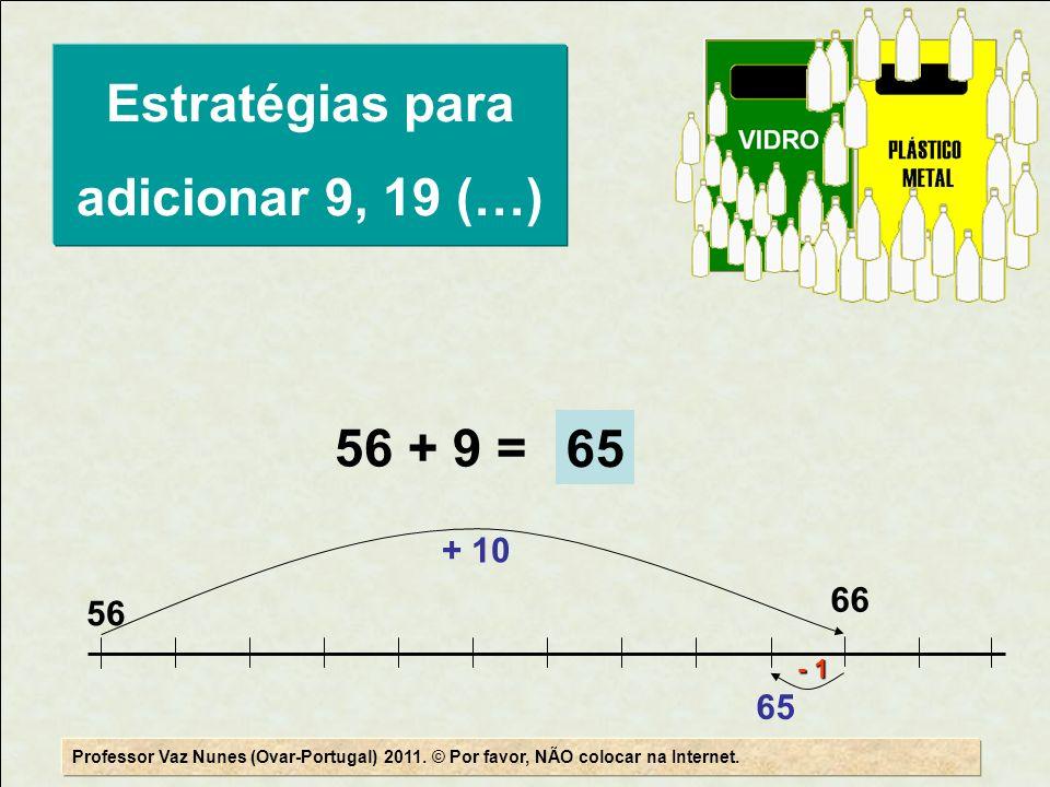56 + 9 = 56 66 + 10 65 - 1 65 Professor Vaz Nunes (Ovar-Portugal) 2011. © Por favor, NÃO colocar na Internet. Estratégias para adicionar 9, 19 (…)