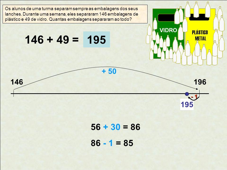146 + 49 = 146196 + 50 56 + 30 = 86 86 - 1 = 85 Os alunos de uma turma separam sempre as embalagens dos seus lanches. Durante uma semana, eles separar