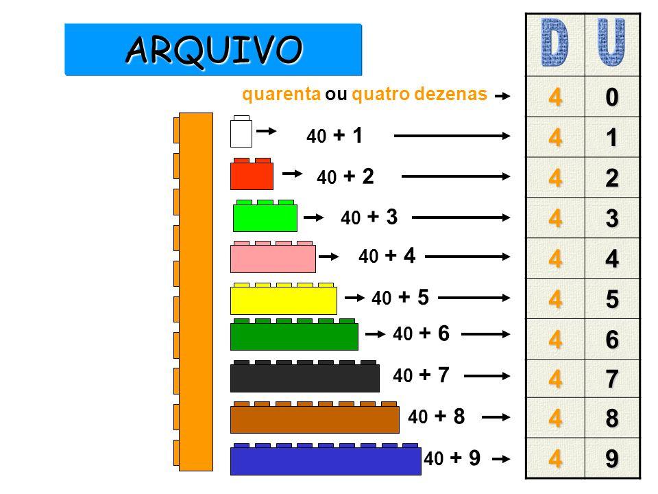 40 41 42 43 44 45 46 47 48 49 40 + 1 40 + 2 40 + 3 40 + 4 40 + 5 40 + 6 40 + 7 40 + 8 40 + 9 quarenta ou quatro dezenas ARQUIVO