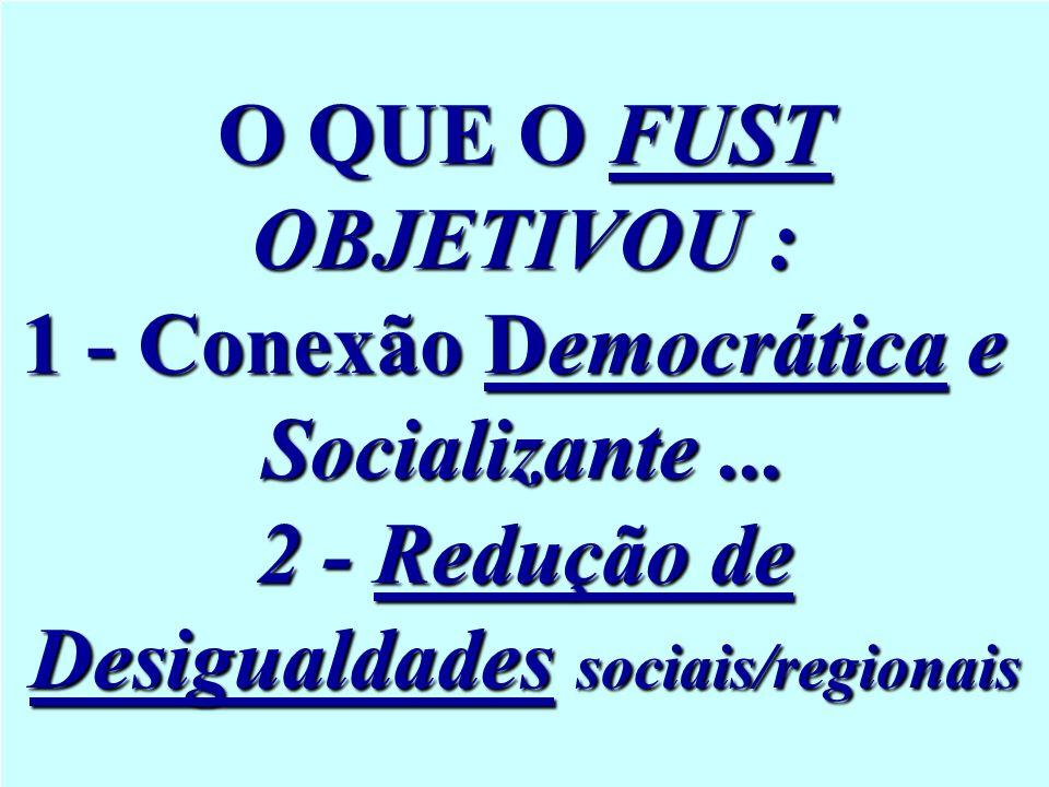 O QUE O FUST OBJETIVOU : 1 - Conexão Democrática e Socializante... 2 - Redução de Desigualdades sociais/regionais