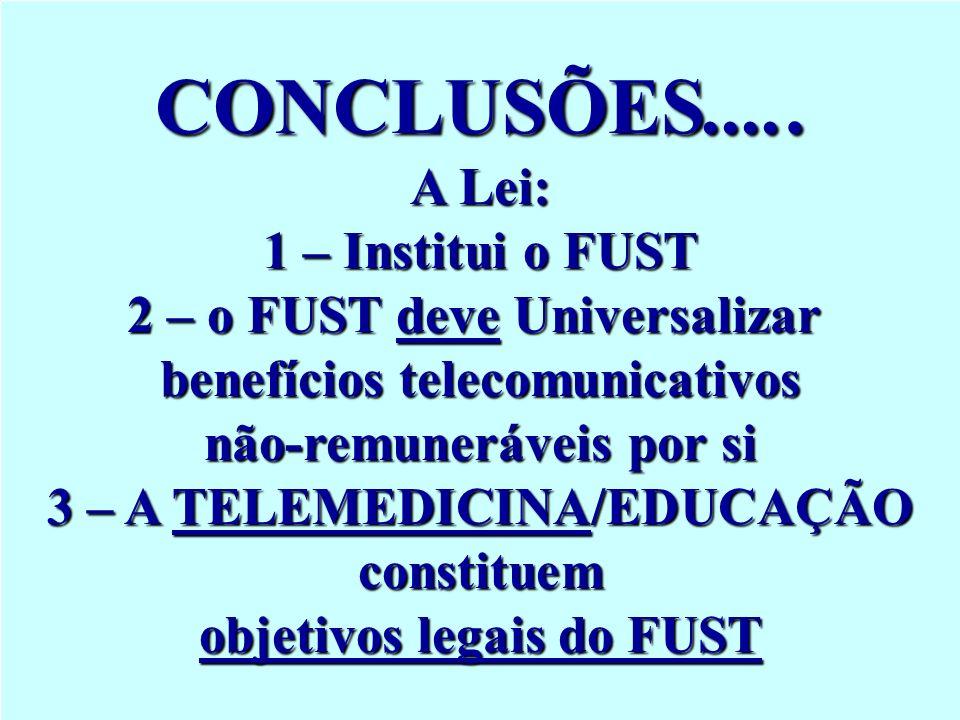 CONCLUSÕES..... A Lei: 1 – Institui o FUST 2 – o FUST deve Universalizar benefícios telecomunicativos não-remuneráveis por si 3 – A TELEMEDICINA/EDUCA