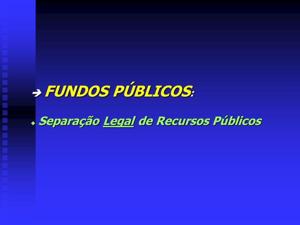 FUNDOS PÚBLICOS : FUNDOS PÚBLICOS : u Separação Legal de Recursos Públicos