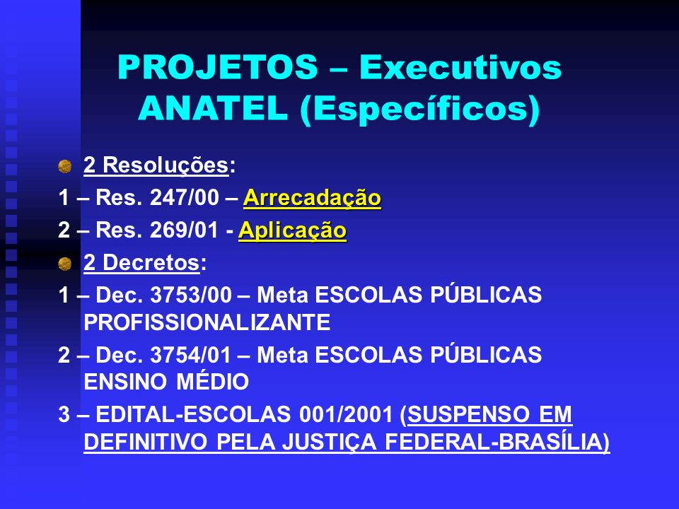 PROJETOS – Executivos ANATEL (Específicos) 2 Resoluções: Arrecadação 1 – Res. 247/00 – Arrecadação Aplicação 2 – Res. 269/01 - Aplicação 2 Decretos: 1