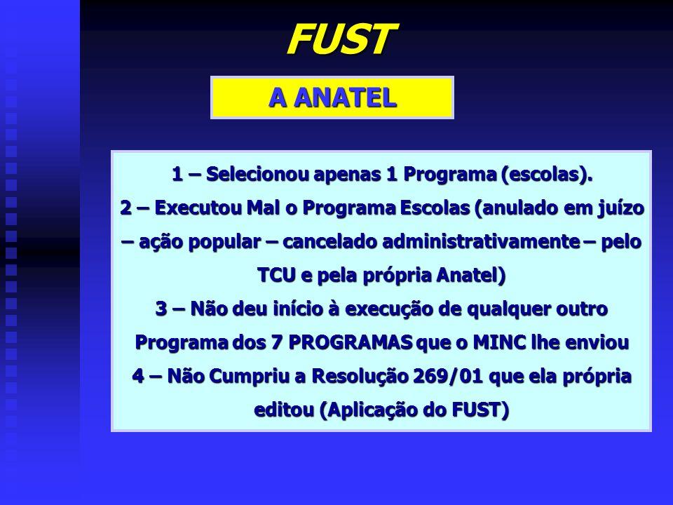 FUST A ANATEL 1 – Selecionou apenas 1 Programa (escolas). 2 – Executou Mal o Programa Escolas (anulado em juízo – ação popular – cancelado administrat