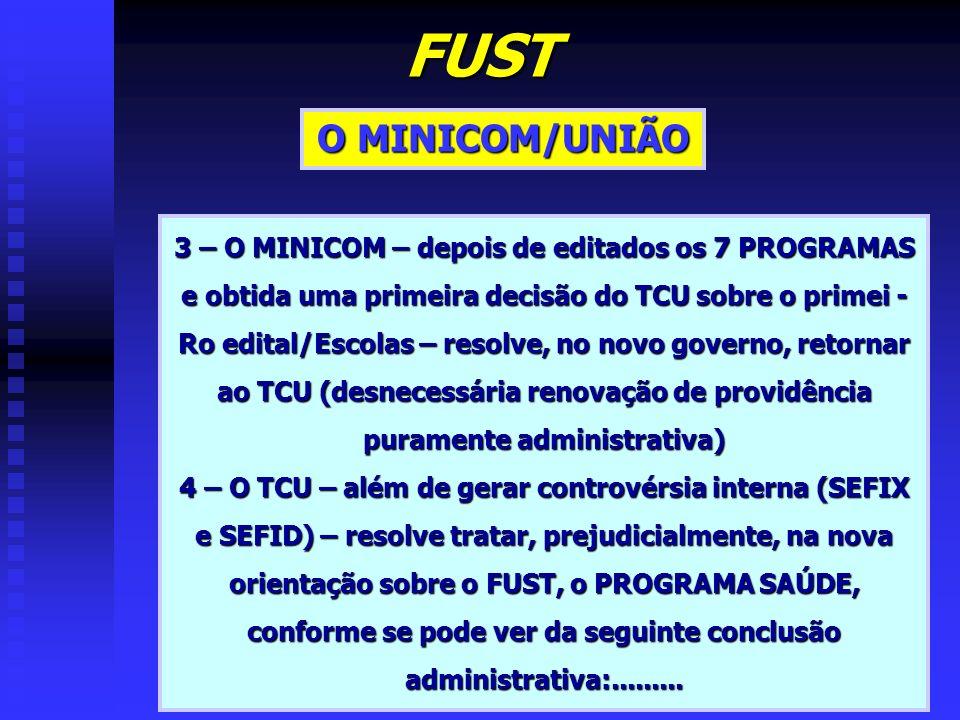 FUST O MINICOM/UNIÃO 3 – O MINICOM – depois de editados os 7 PROGRAMAS e obtida uma primeira decisão do TCU sobre o primei - Ro edital/Escolas – resol