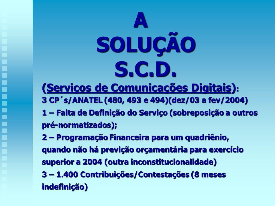 A SOLUÇÃO SOLUÇÃO S.C.D. S.C.D. (Serviços de Comunicações Digitais) : 3 CP´s/ANATEL (480, 493 e 494)(dez/03 a fev/2004) 1 – Falta de Definição do Serv