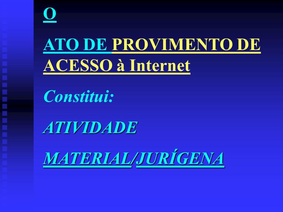 O ATO DE PROVIMENTO DE ACESSO à Internet Constitui:ATIVIDADE MATERIAL/JURÍGENA