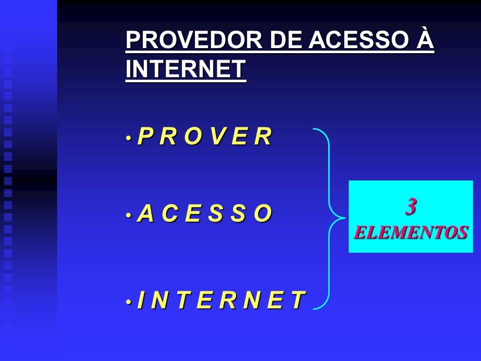 PROVEDOR DE ACESSO À INTERNET P R O V E R A C E S S O I N T E R N E T 3ELEMENTOS
