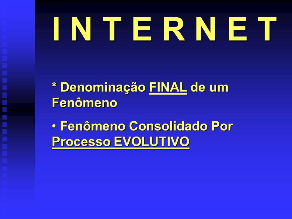 * Denominação FINAL de um Fenômeno Fenômeno Consolidado Por Processo EVOLUTIVO Fenômeno Consolidado Por Processo EVOLUTIVO