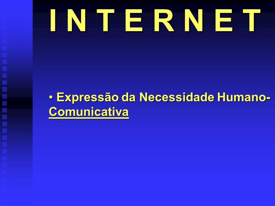 I N T E R N E T Expressão da Necessidade Humano- Comunicativa Expressão da Necessidade Humano- Comunicativa