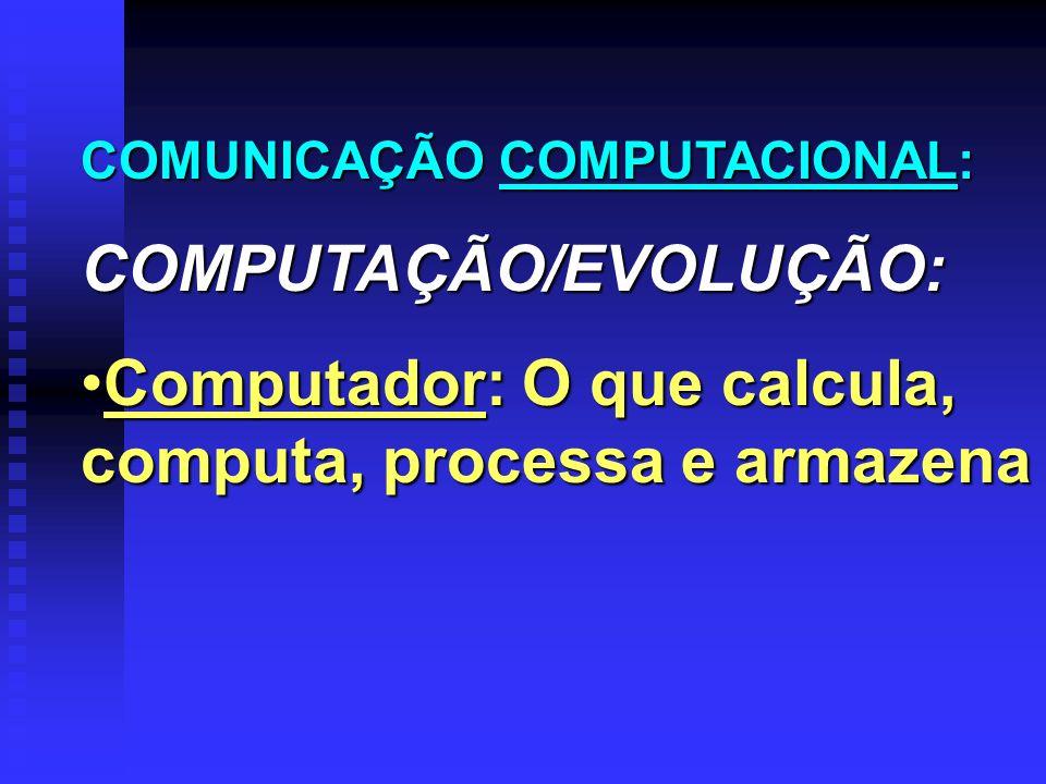 COMUNICAÇÃO COMPUTACIONAL: COMPUTAÇÃO/EVOLUÇÃO: Computador: O que calcula, computa, processa e armazenaComputador: O que calcula, computa, processa e