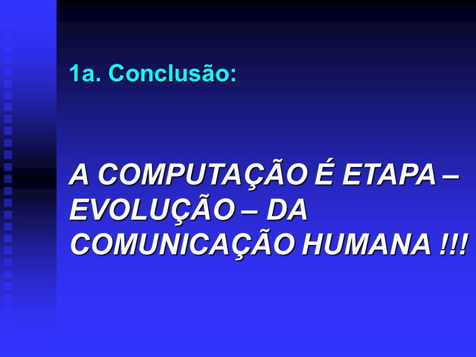 1a. Conclusão: A COMPUTAÇÃO É ETAPA – EVOLUÇÃO – DA COMUNICAÇÃO HUMANA !!!