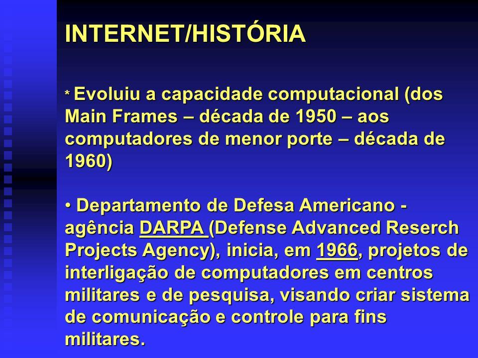 INTERNET/HISTÓRIA * Evoluiu a capacidade computacional (dos Main Frames – década de 1950 – aos computadores de menor porte – década de 1960) Departame