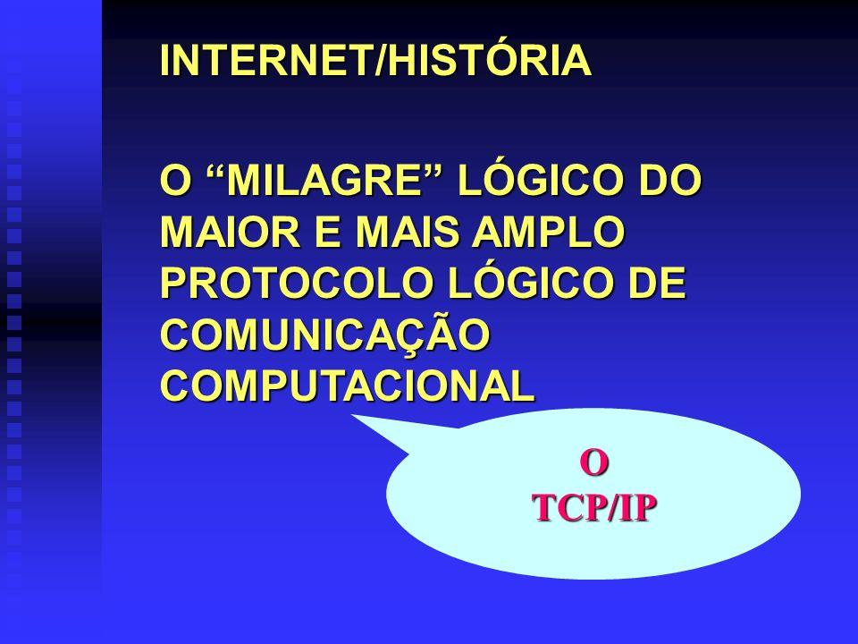 INTERNET/HISTÓRIA O MILAGRE LÓGICO DO MAIOR E MAIS AMPLO PROTOCOLO LÓGICO DE COMUNICAÇÃO COMPUTACIONAL OTCP/IP