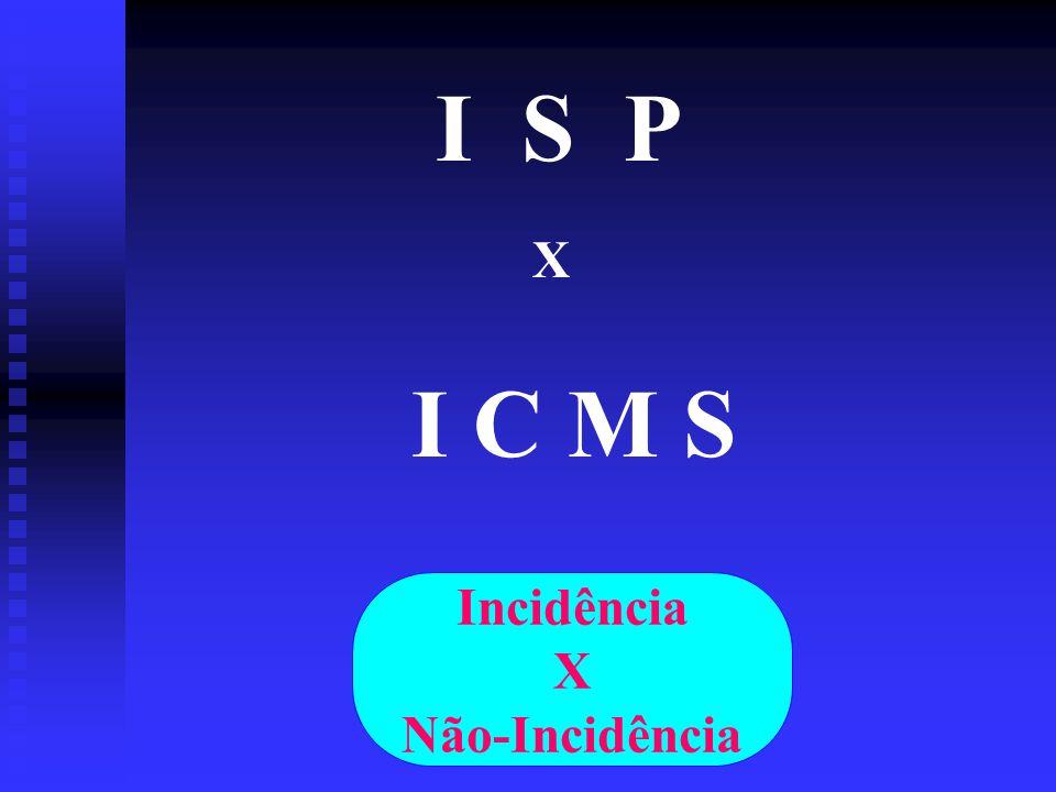I S P X I C M S Incidência X Não-Incidência