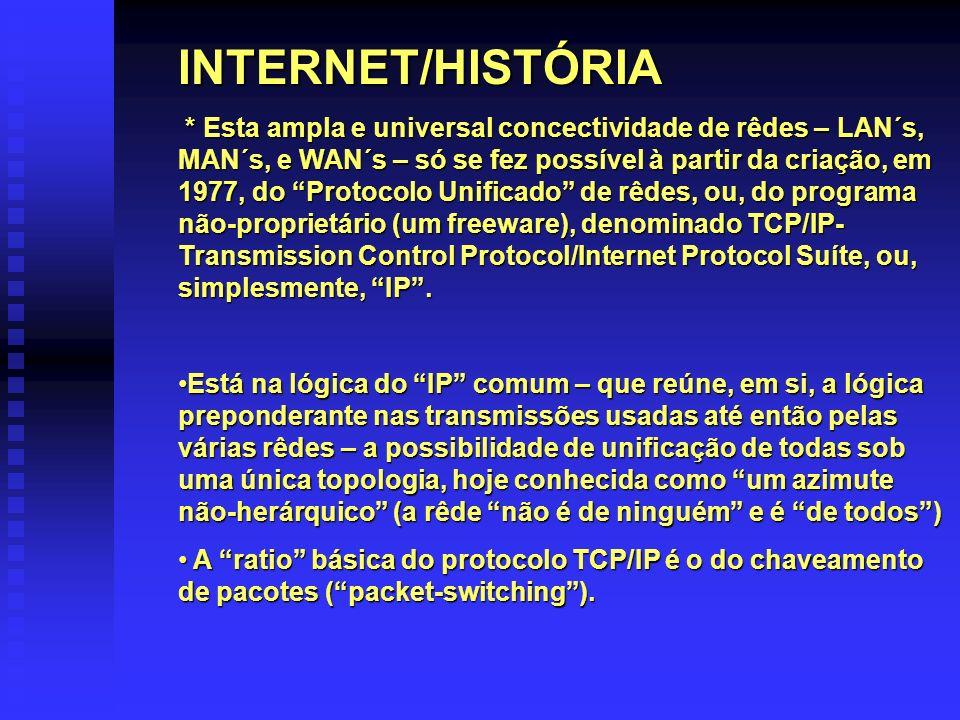 INTERNET/HISTÓRIA * Esta ampla e universal concectividade de rêdes – LAN´s, MAN´s, e WAN´s – só se fez possível à partir da criação, em 1977, do Proto