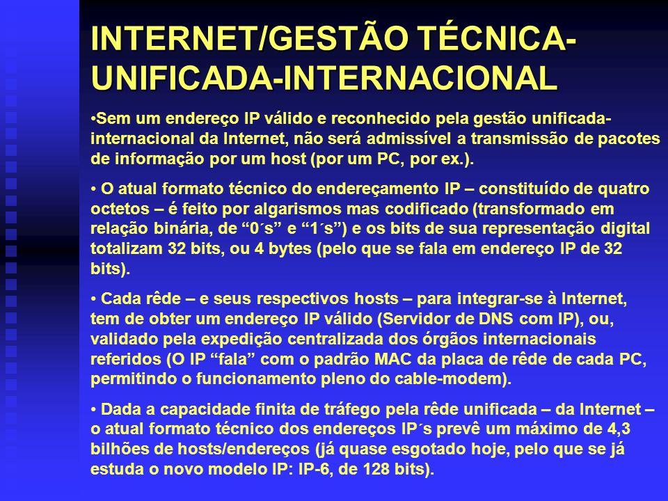 INTERNET/GESTÃO TÉCNICA- UNIFICADA-INTERNACIONAL Sem um endereço IP válido e reconhecido pela gestão unificada- internacional da Internet, não será ad