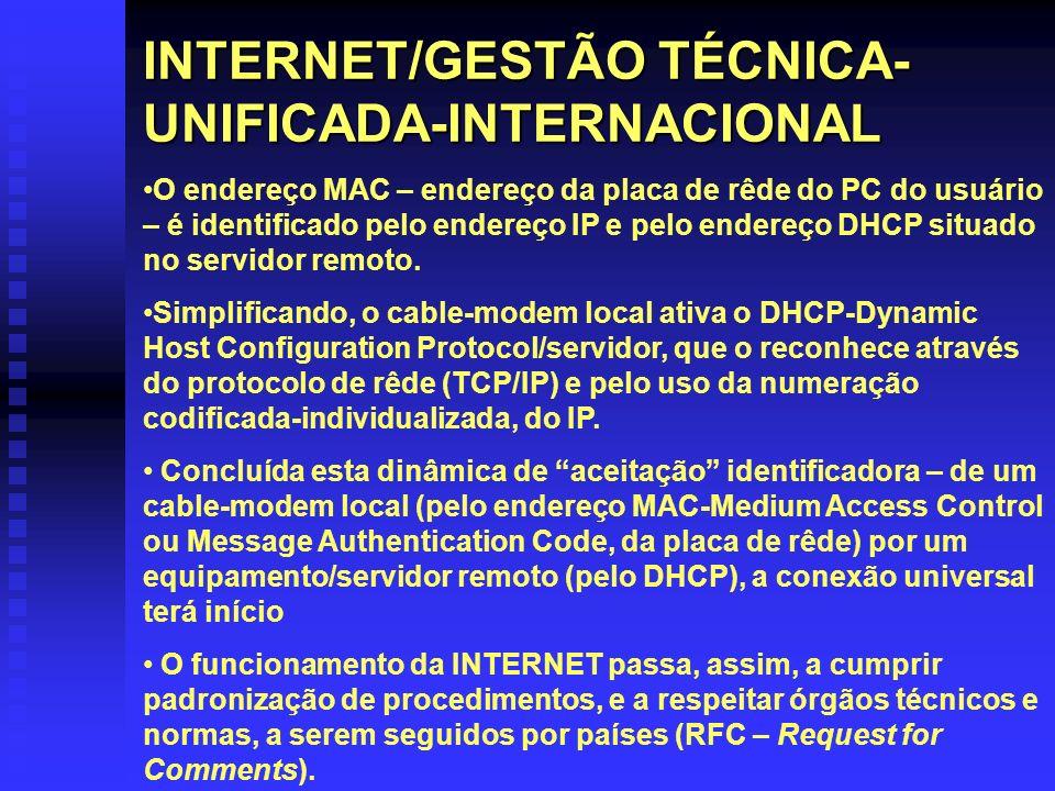 INTERNET/GESTÃO TÉCNICA- UNIFICADA-INTERNACIONAL O endereço MAC – endereço da placa de rêde do PC do usuário – é identificado pelo endereço IP e pelo