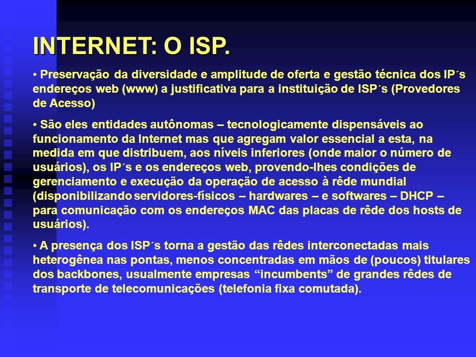 INTERNET: O ISP. Preservação da diversidade e amplitude de oferta e gestão técnica dos IP´s endereços web (www) a justificativa para a instituição de