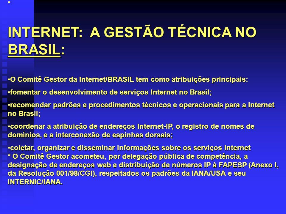 INTERNET: A GESTÃO TÉCNICA NO BRASIL: O Comitê Gestor da Internet/BRASIL tem como atribuições principais:O Comitê Gestor da Internet/BRASIL tem como a