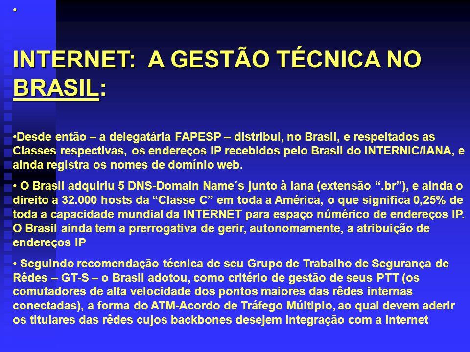 INTERNET: A GESTÃO TÉCNICA NO BRASIL: Desde então – a delegatária FAPESP – distribui, no Brasil, e respeitados as Classes respectivas, os endereços IP