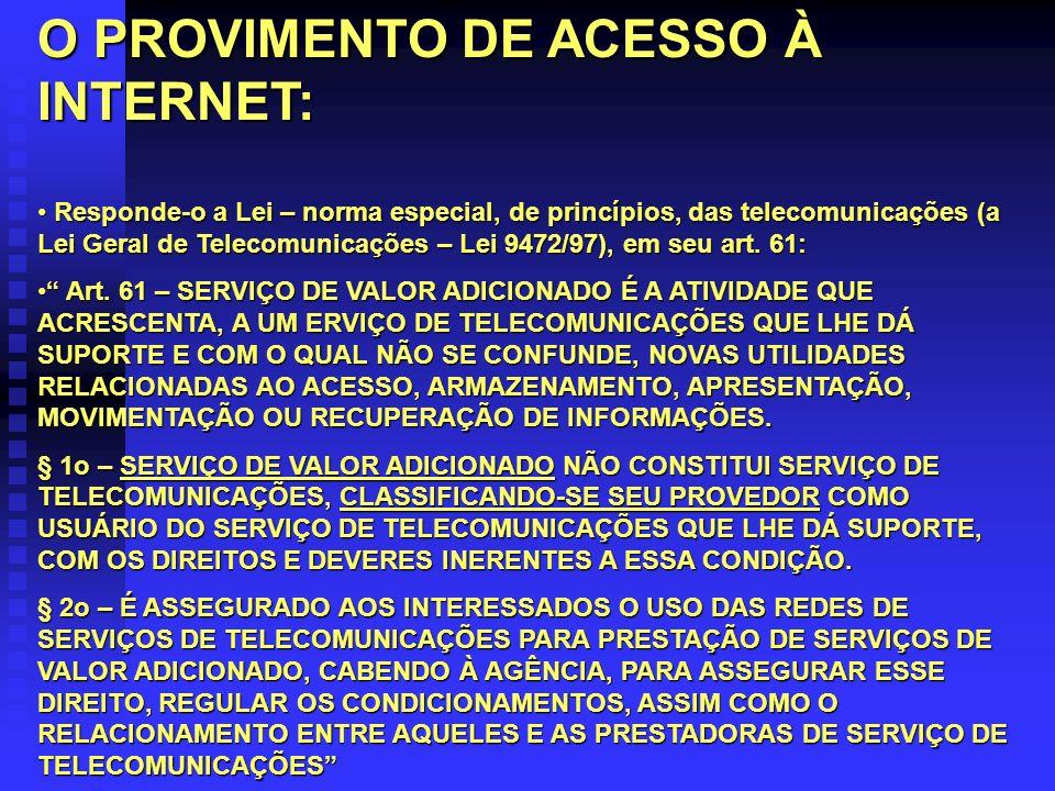 O PROVIMENTO DE ACESSO À INTERNET: Responde-o a Lei – norma especial, de princípios, das telecomunicações (a Lei Geral de Telecomunicações – Lei 9472/