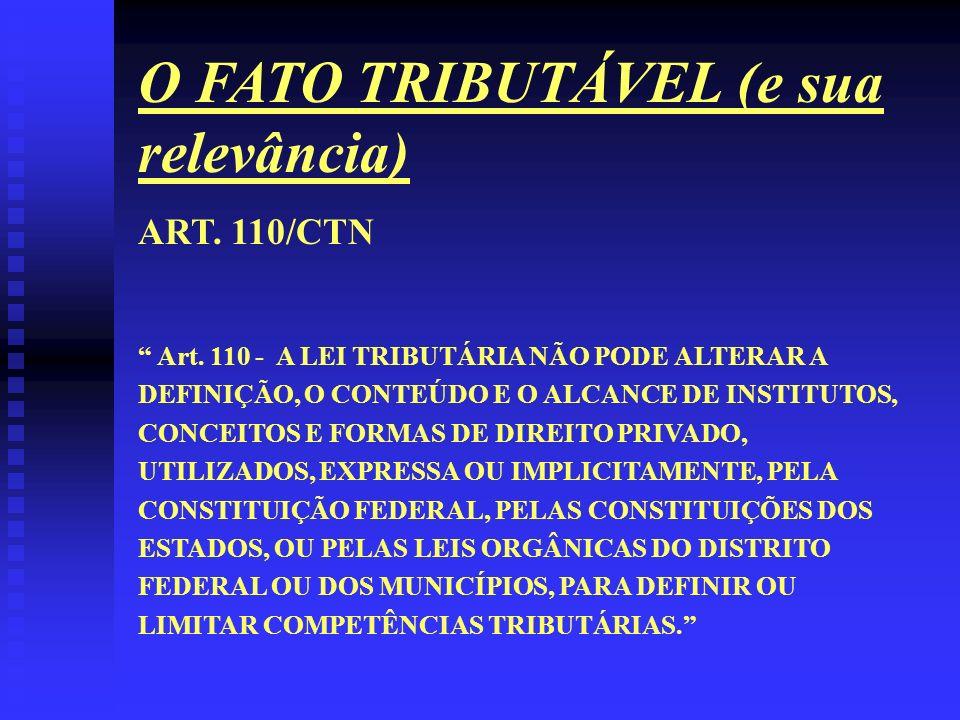 O FATO TRIBUTÁVEL (e sua relevância) ART. 110/CTN Art. 110 - A LEI TRIBUTÁRIA NÃO PODE ALTERAR A DEFINIÇÃO, O CONTEÚDO E O ALCANCE DE INSTITUTOS, CONC