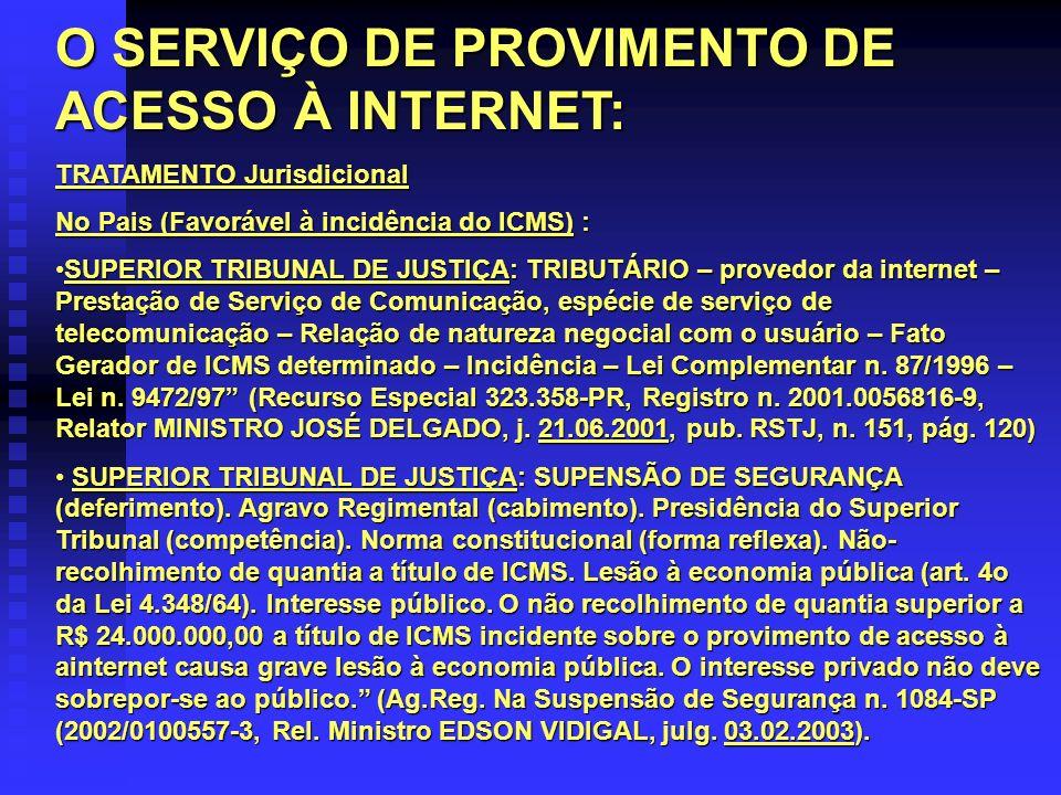 O SERVIÇO DE PROVIMENTO DE ACESSO À INTERNET: TRATAMENTO Jurisdicional No Pais (Favorável à incidência do ICMS) : SUPERIOR TRIBUNAL DE JUSTIÇA: TRIBUT