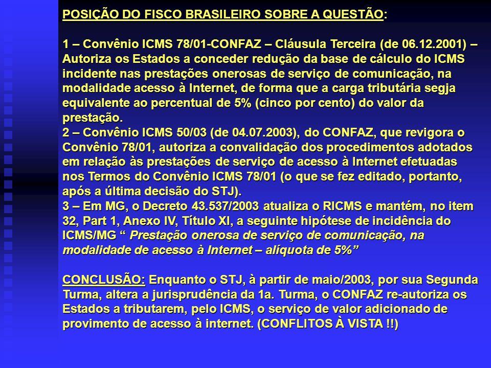 POSIÇÃO DO FISCO BRASILEIRO SOBRE A QUESTÃO: 1 – Convênio ICMS 78/01-CONFAZ – Cláusula Terceira (de 06.12.2001) – Autoriza os Estados a conceder reduç