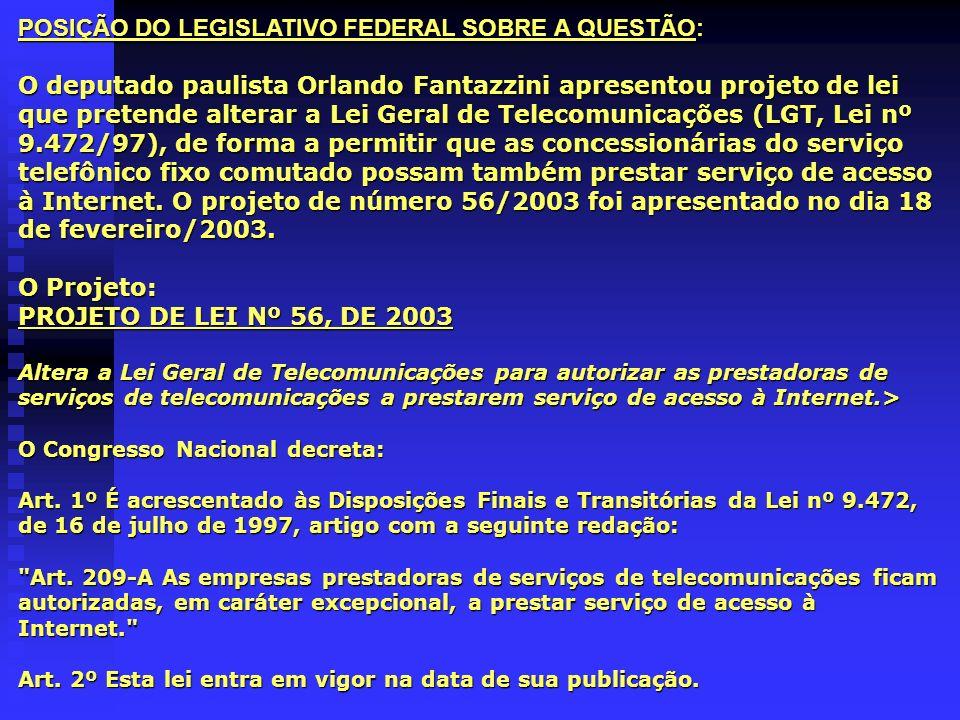 POSIÇÃO DO LEGISLATIVO FEDERAL SOBRE A QUESTÃO: O deputado paulista Orlando Fantazzini apresentou projeto de lei que pretende alterar a Lei Geral de T