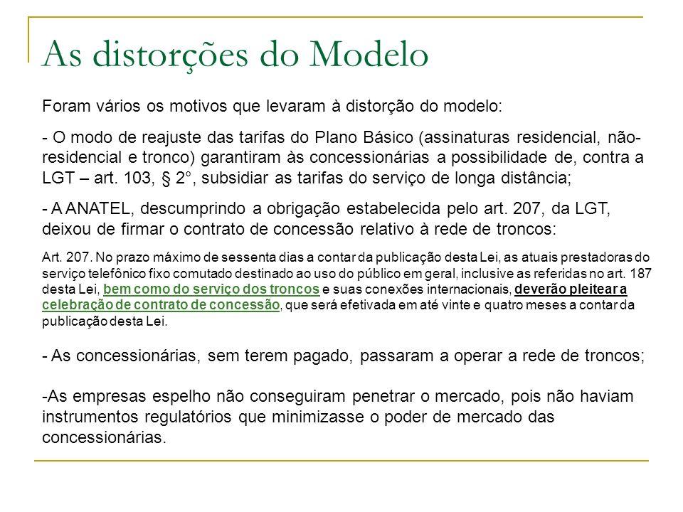 As distorções do Modelo Foram vários os motivos que levaram à distorção do modelo: - O modo de reajuste das tarifas do Plano Básico (assinaturas resid