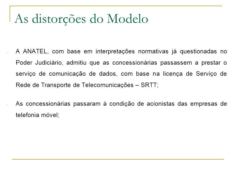 As distorções do Modelo - A ANATEL, com base em interpretações normativas já questionadas no Poder Judiciário, admitiu que as concessionárias passasse