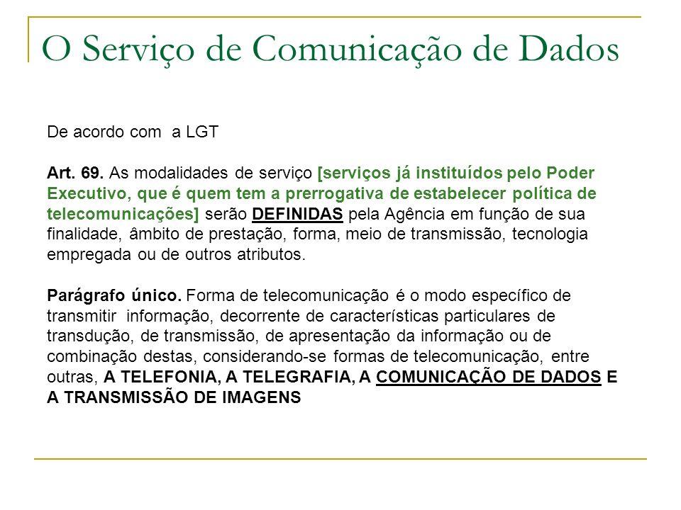 O Serviço de Comunicação de Dados De acordo com a LGT Art. 69. As modalidades de serviço [serviços já instituídos pelo Poder Executivo, que é quem tem