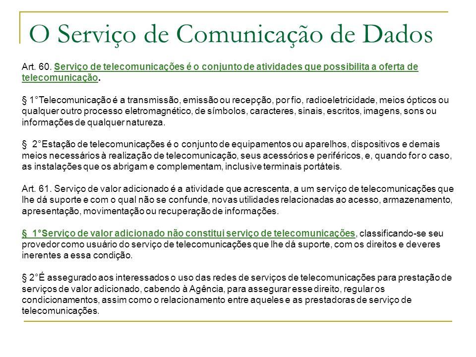O Serviço de Comunicação de Dados Art. 60. Serviço de telecomunicações é o conjunto de atividades que possibilita a oferta de telecomunicação. § 1°Tel
