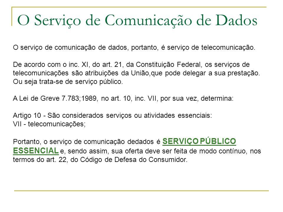 O Serviço de Comunicação de Dados O serviço de comunicação de dados, portanto, é serviço de telecomunicação. De acordo com o inc. XI, do art. 21, da C