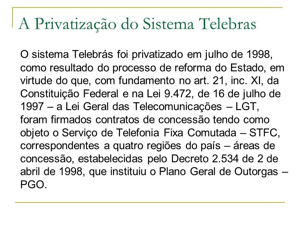 A Privatização do Sistema Telebras O sistema Telebrás foi privatizado em julho de 1998, como resultado do processo de reforma do Estado, em virtude do