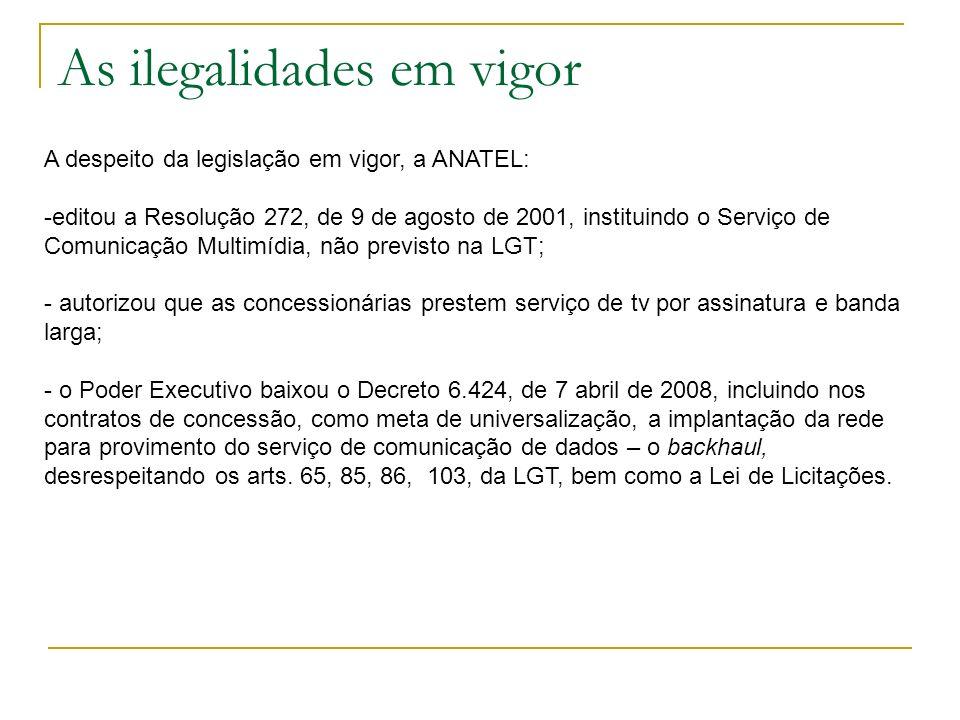 As ilegalidades em vigor A despeito da legislação em vigor, a ANATEL: -editou a Resolução 272, de 9 de agosto de 2001, instituindo o Serviço de Comuni