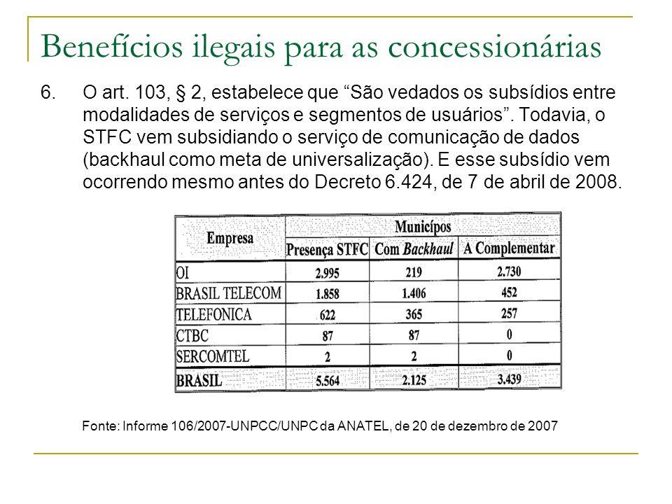 Benefícios ilegais para as concessionárias 6. O art. 103, § 2, estabelece que São vedados os subsídios entre modalidades de serviços e segmentos de us
