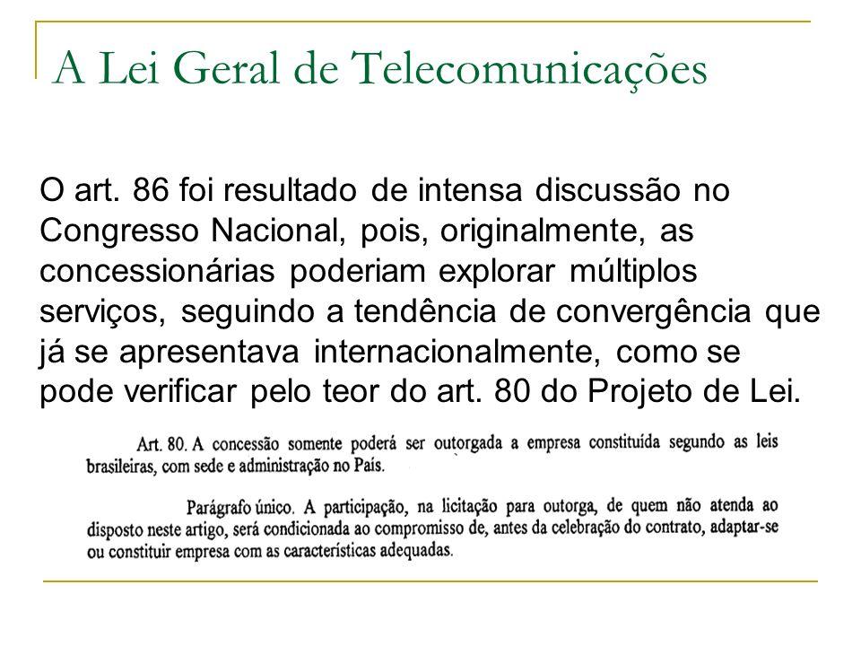 A Lei Geral de Telecomunicações O art. 86 foi resultado de intensa discussão no Congresso Nacional, pois, originalmente, as concessionárias poderiam e