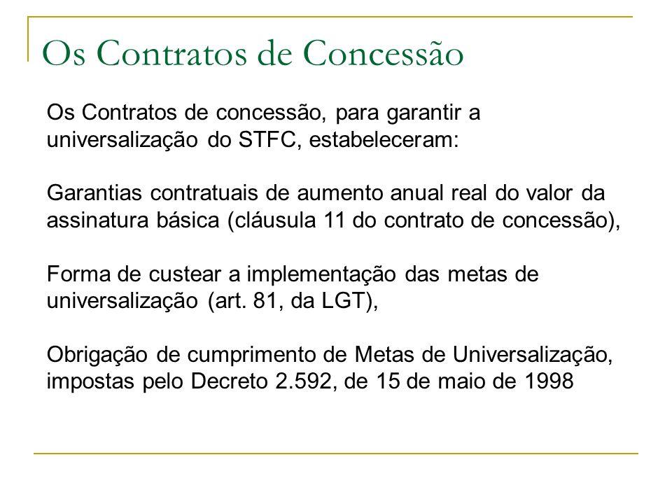 Os Contratos de Concessão Os Contratos de concessão, para garantir a universalização do STFC, estabeleceram: Garantias contratuais de aumento anual re