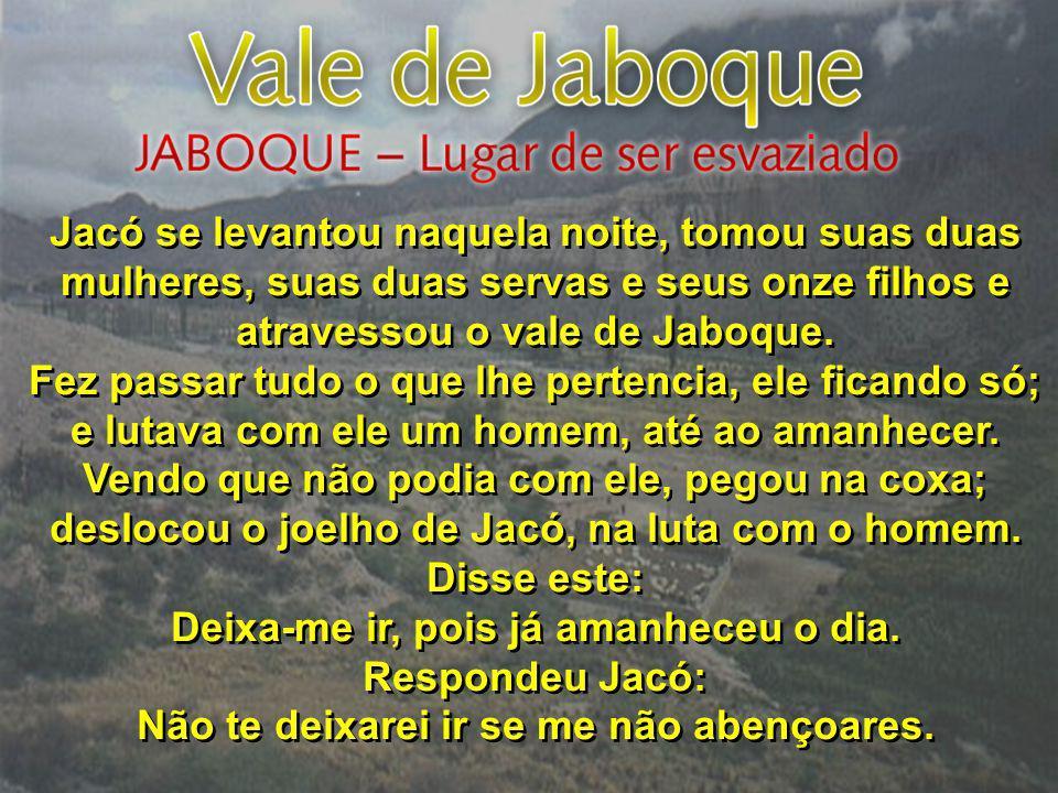 Jacó se levantou naquela noite, tomou suas duas mulheres, suas duas servas e seus onze filhos e atravessou o vale de Jaboque. Fez passar tudo o que lh