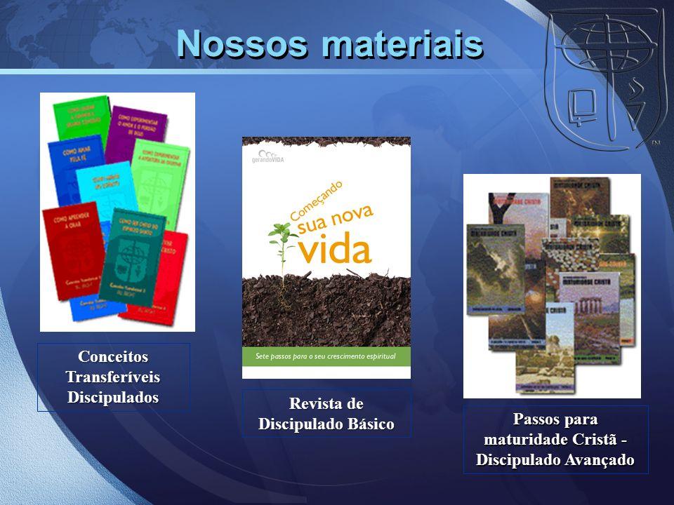 Nossos materiais Conceitos Transferíveis Discipulados Revista de Discipulado Básico Passos para maturidade Cristã - Discipulado Avançado
