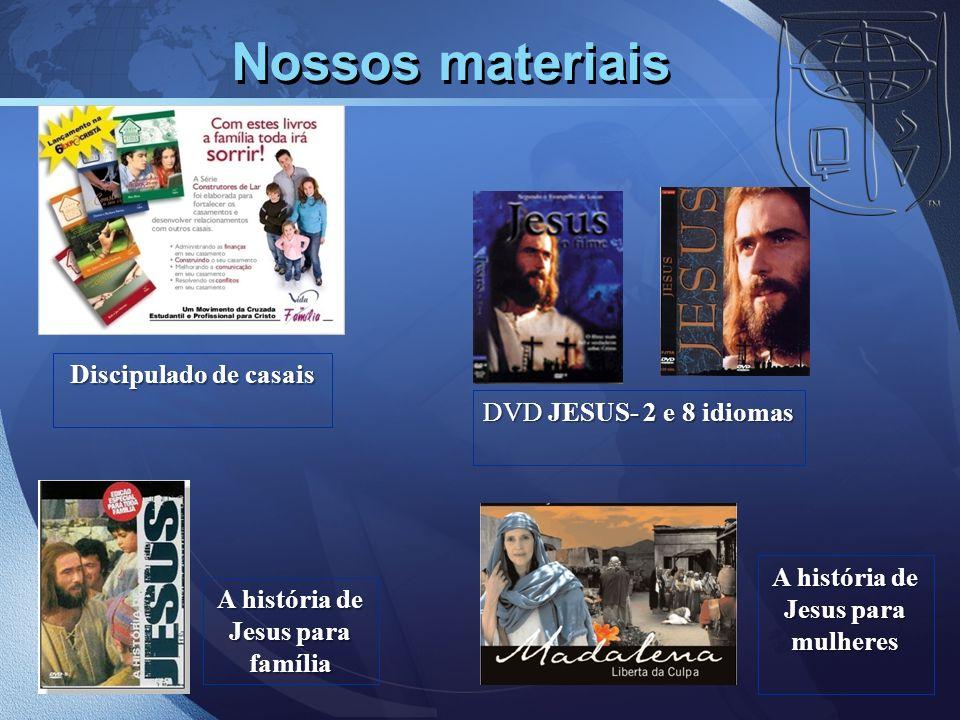 Nossos materiais DVD JESUS- 2 e 8 idiomas A história de Jesus para família A história de Jesus para mulheres Discipulado de casais